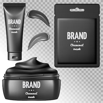 Set of charcoal  mask cream.