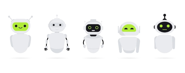Set of chat bot in flat style. chat messenger icon. support or service icon. support service bot. online consultation. customer service, support, assistant. chatbot or artificial intelligence network