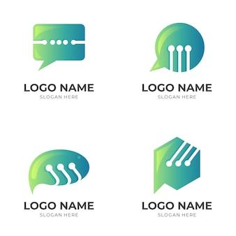 チャットのロゴ、チャットとテクノロジー、3dグリーンカラースタイルの組み合わせロゴを設定します
