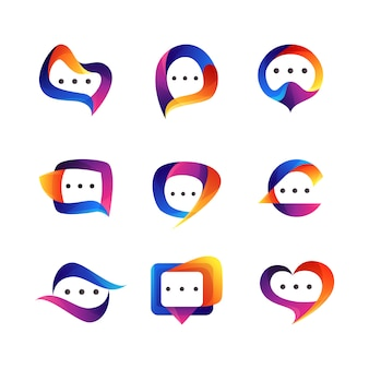 Set of chat logo design