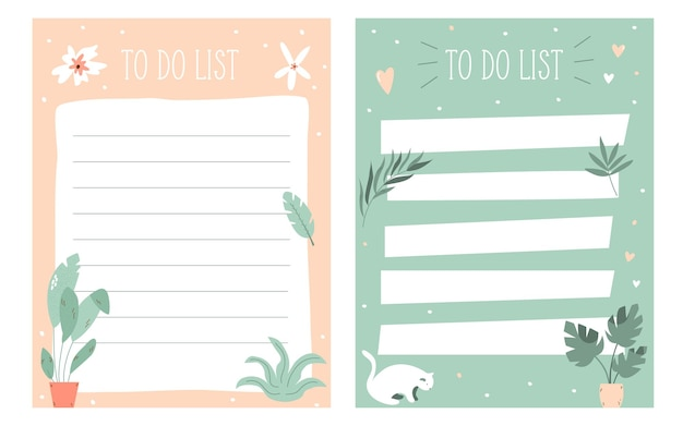 Set of to do, check lists, planners in a cute girlish style. vector illustration