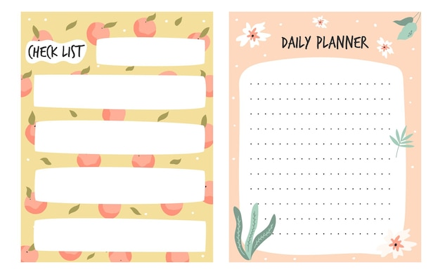 Set of to do, check lists, planners in a cute style. vector illustration