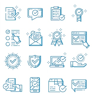 Set of check mark and approved icons with outline style