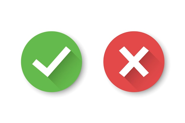 Set of check mark and cross icons with long shadow