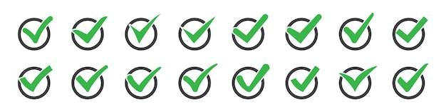 Set of check marks or ticks icons
