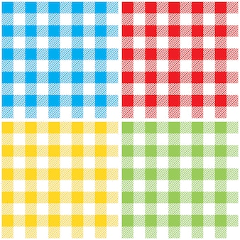 Set checkered colors tablecloth seamless pattern