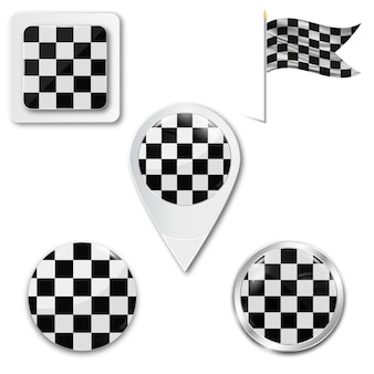 Set of checkered flag icons for racing