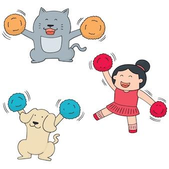 Set of cheerleader, dog and cat