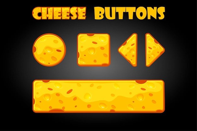 Set of cheese buttons for user interface. illustration cartoon buttons for games.