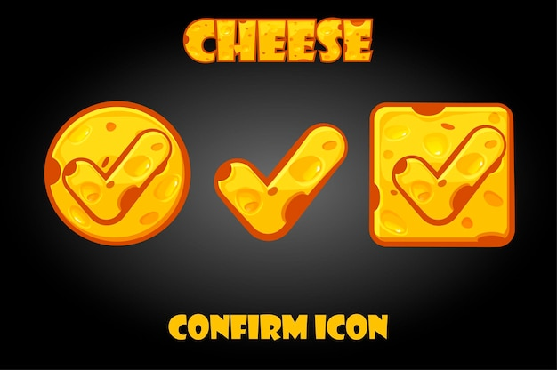 Set of cheese confirm buttons for game.