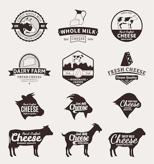 Set of cheese labels icons and design elements