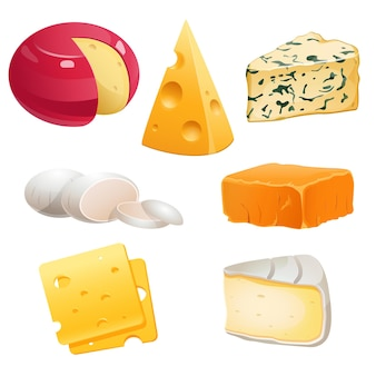 Set of cheese types roquefort brie and maasdam