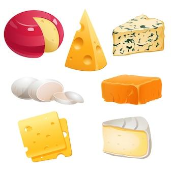 Set di tipi di formaggio roquefort brie e maasdam