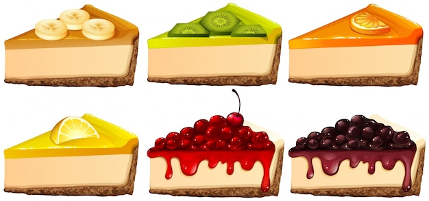 Set of cheesecake with different flavors illustration
