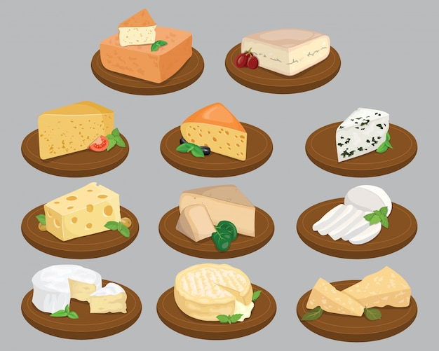 Set of cheeses. collection of cartoon cheeses. dairy.   illustration.