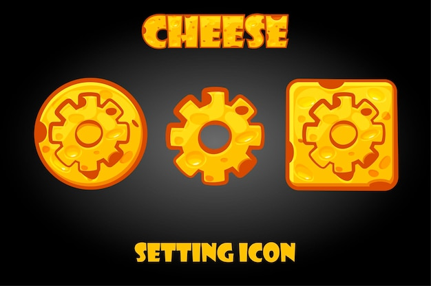 Set of cheesy settings buttons for game. configuration buttons