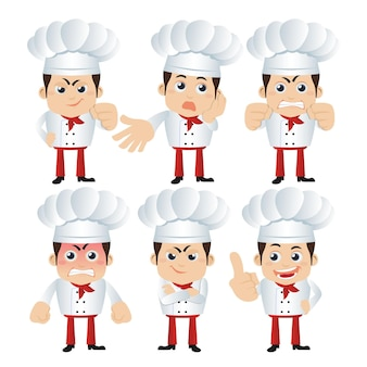 Set of chef characters in different poses