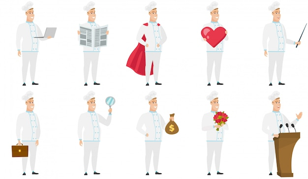 Set of  chef characters.