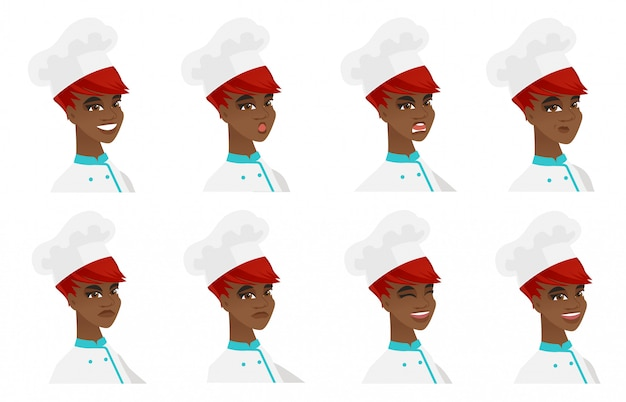 Set of chef-cooker characters.
