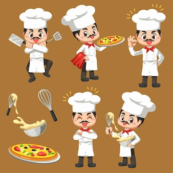 Set of chef man making the bakery in cartoon character, mascot in illustration design for culinary business logo