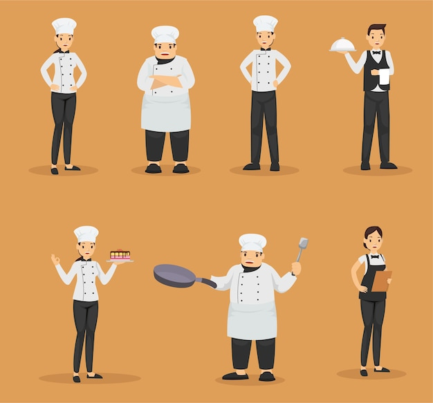 Set of chef and waiters in restaurant