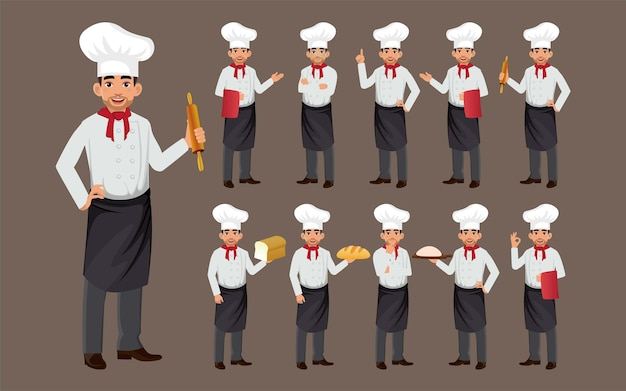 Set of chef with different poses