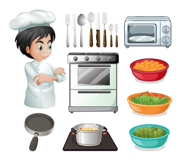 Set of chef with other kitchen equipments