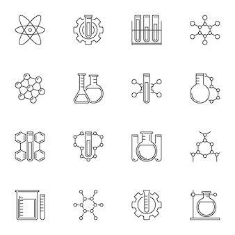 Set of chemical concept icons in thin line style