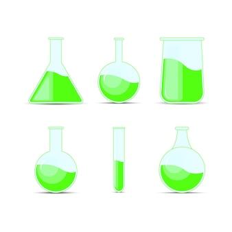 ハロウィーンと化学のための化学フラスコ、ボトル、ポーションを設定します