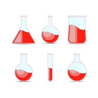 ハロウィーンと化学のための化学フラスコ、ボトル、ポーションを設定します。