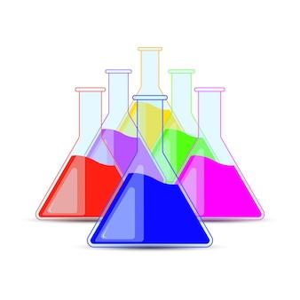 화학 플라스크, 병, 할로윈 및 화학 물약을 설정합니다.