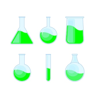 Set chemical flask, bottles, potions for halloween and chemistry.