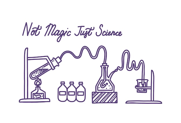Set of chemical laboratory equipment glass flasks test tube spirit lamp and chemical agents