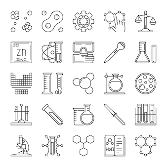 Set of chemical outline icons. chemistry concept signs
