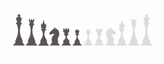Set of chess figures in black and white color. collection of chess pieces: king, queen, rook, bishop, pawn and knight.