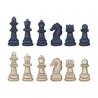 Set of chess pieces.   illustration