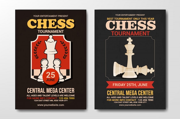 Set of chess tournament flyer template, simple retro