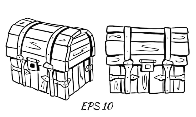Set of chests in cartoon style. chest in full face and in three quarters.