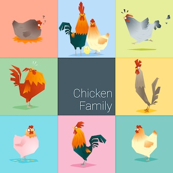 Set of chicken family