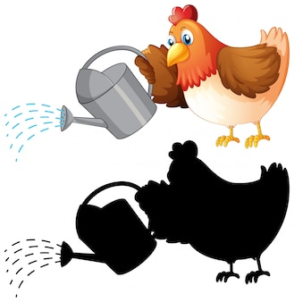 Set of chicken and watering can