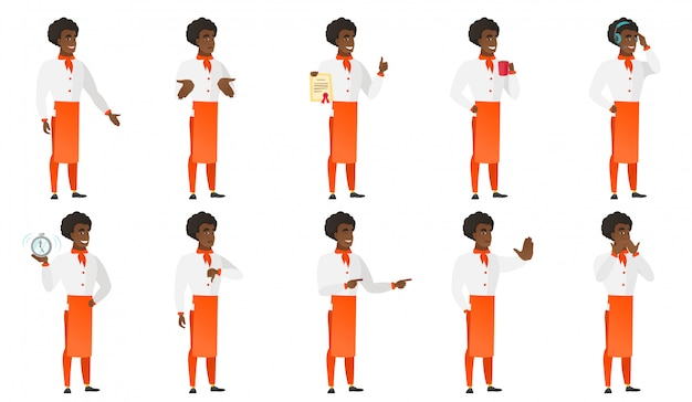 Set of chief-cooker characters