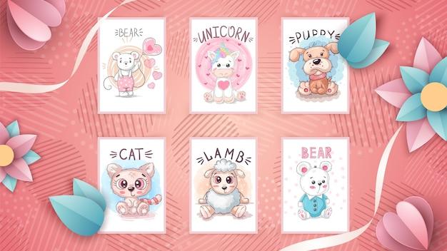 Set of childish animal illustrations
