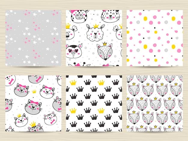 Set of childish seamless pattern with cats, foxes, llamas and koalas