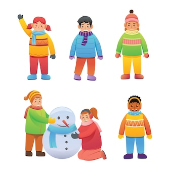 Set of children character activity  in winter clothes