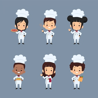 Set of  children chef cartoon character using apron preparing food