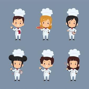 Set of  children chef cartoon character using apron preparing food