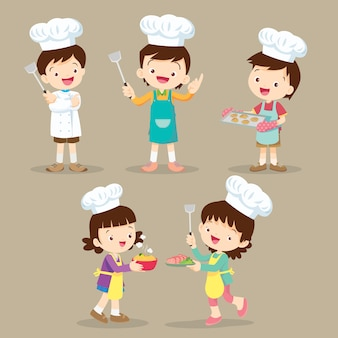 Set of children cooking