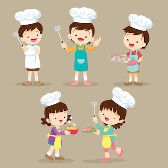 Set of children cooking