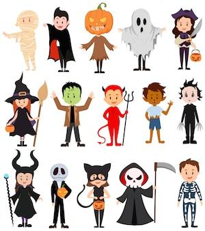 Set of children in costumes for halloween. collection of cartoon children in carnival costumes.