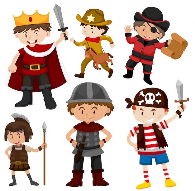 Set of children in costumes
